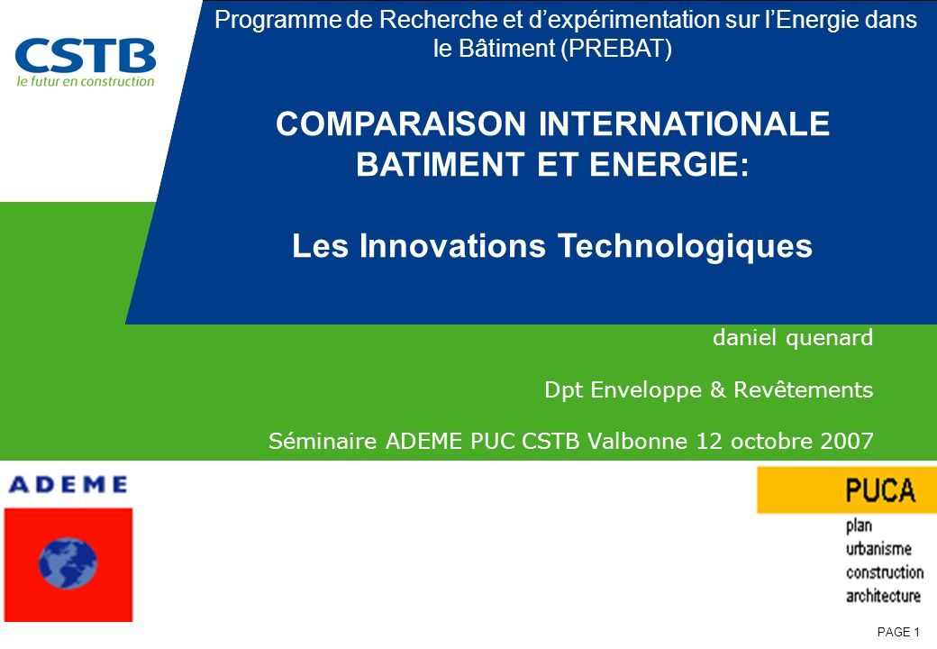 COMPARAISON INTERNATIONALE Les Innovations Technologiques