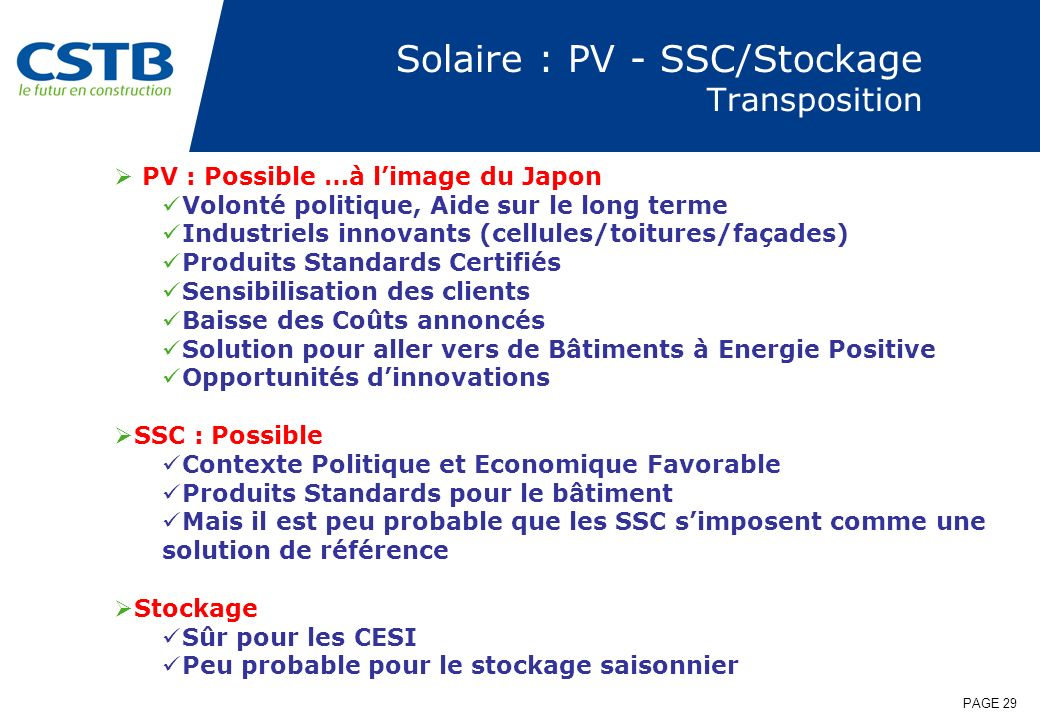Solaire : PV - SSC/Stockage Transposition
