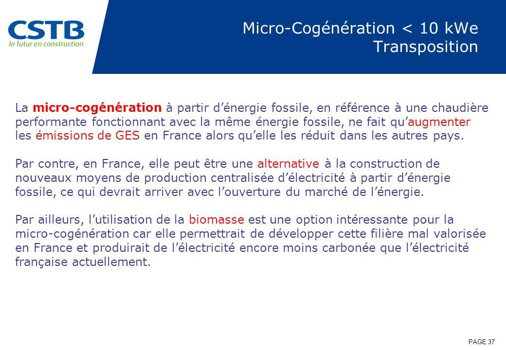 Micro-Cogénération < 10 kWe Transposition