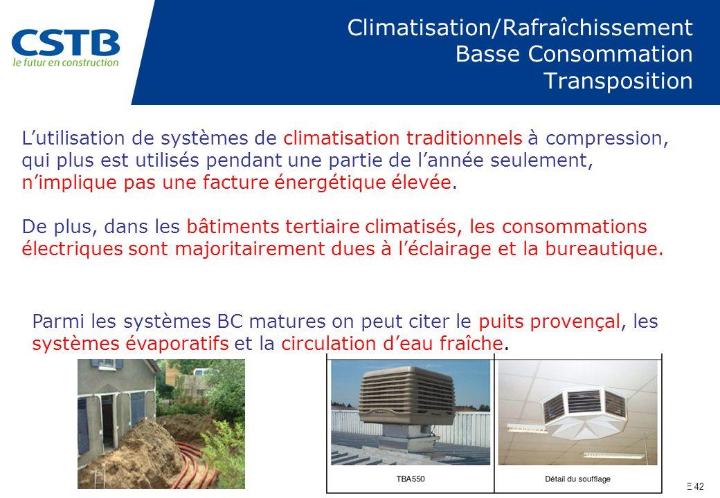 Climatisation/Rafraîchissement Basse Consommation Transposition