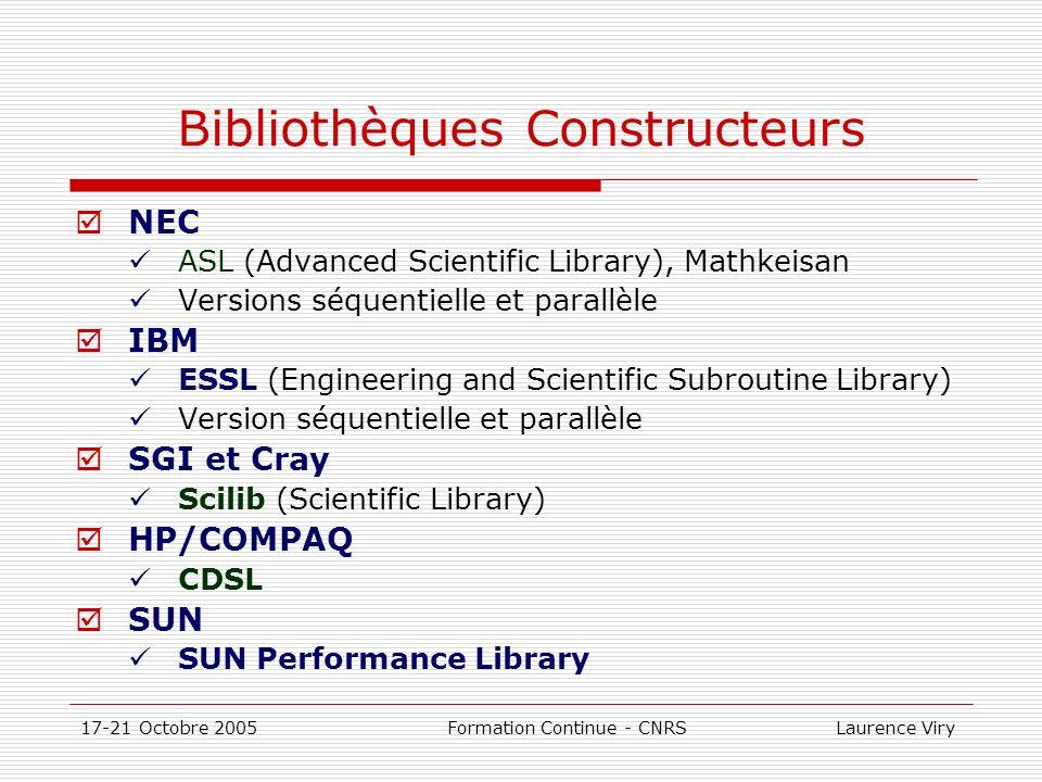 Bibliothèques Constructeurs