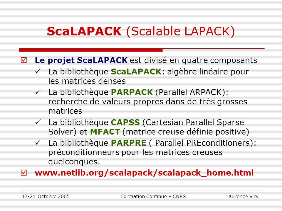 ScaLAPACK (Scalable LAPACK)