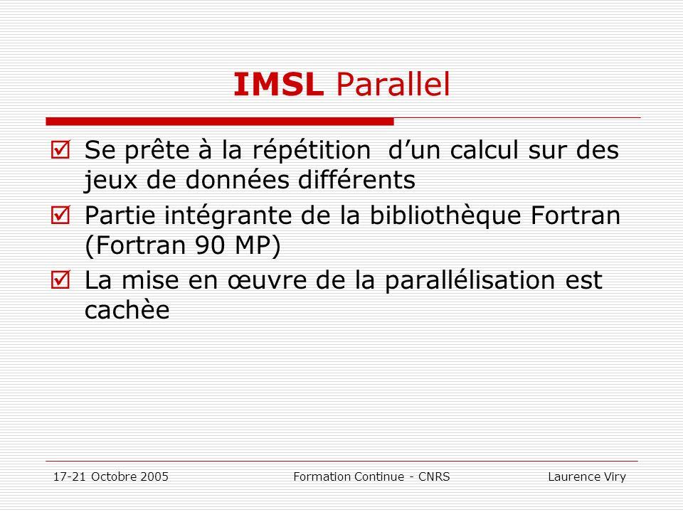 IMSL Parallel Se prête à la répétition d'un calcul sur des jeux de données différents. Partie intégrante de la bibliothèque Fortran (Fortran 90 MP)