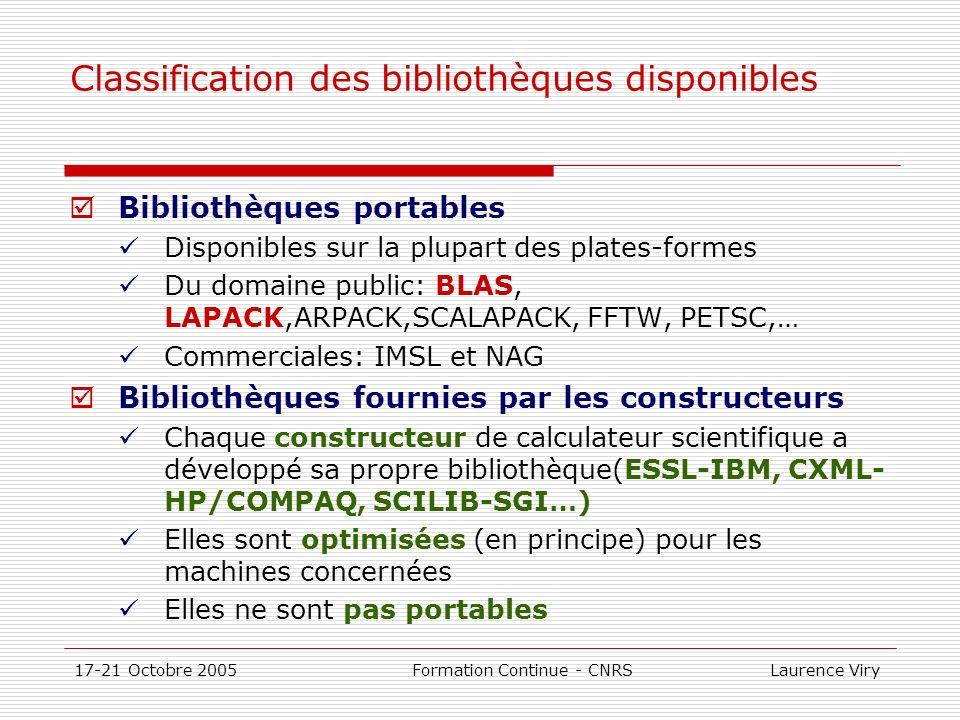 Classification des bibliothèques disponibles