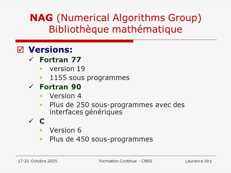 NAG (Numerical Algorithms Group) Bibliothèque mathématique