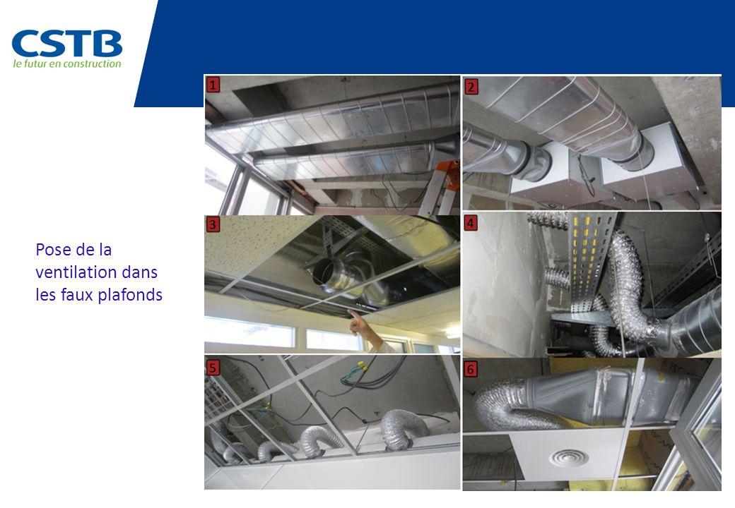 Pose de la ventilation dans les faux plafonds