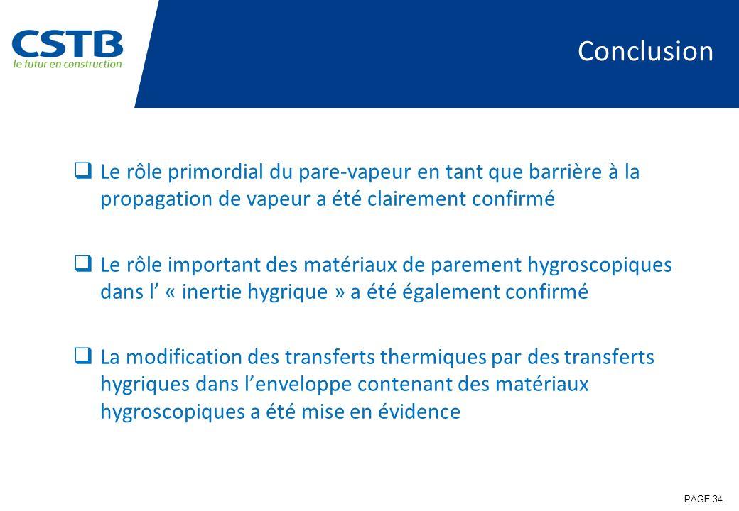 Conclusion Le rôle primordial du pare-vapeur en tant que barrière à la propagation de vapeur a été clairement confirmé