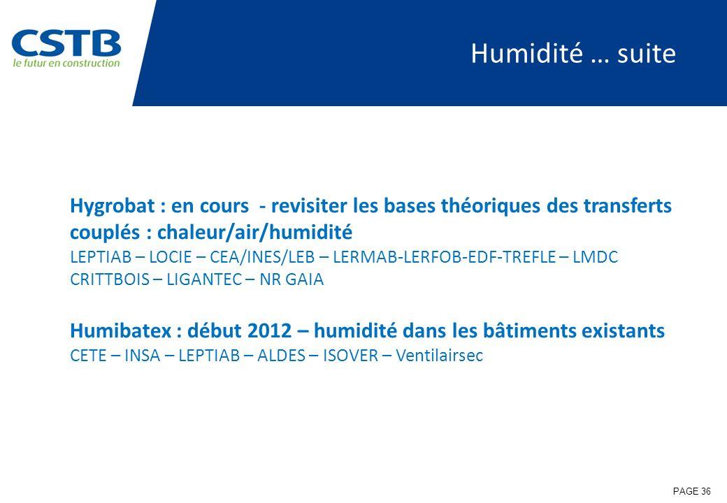 Humidité … suite Hygrobat : en cours - revisiter les bases théoriques des transferts couplés : chaleur/air/humidité.