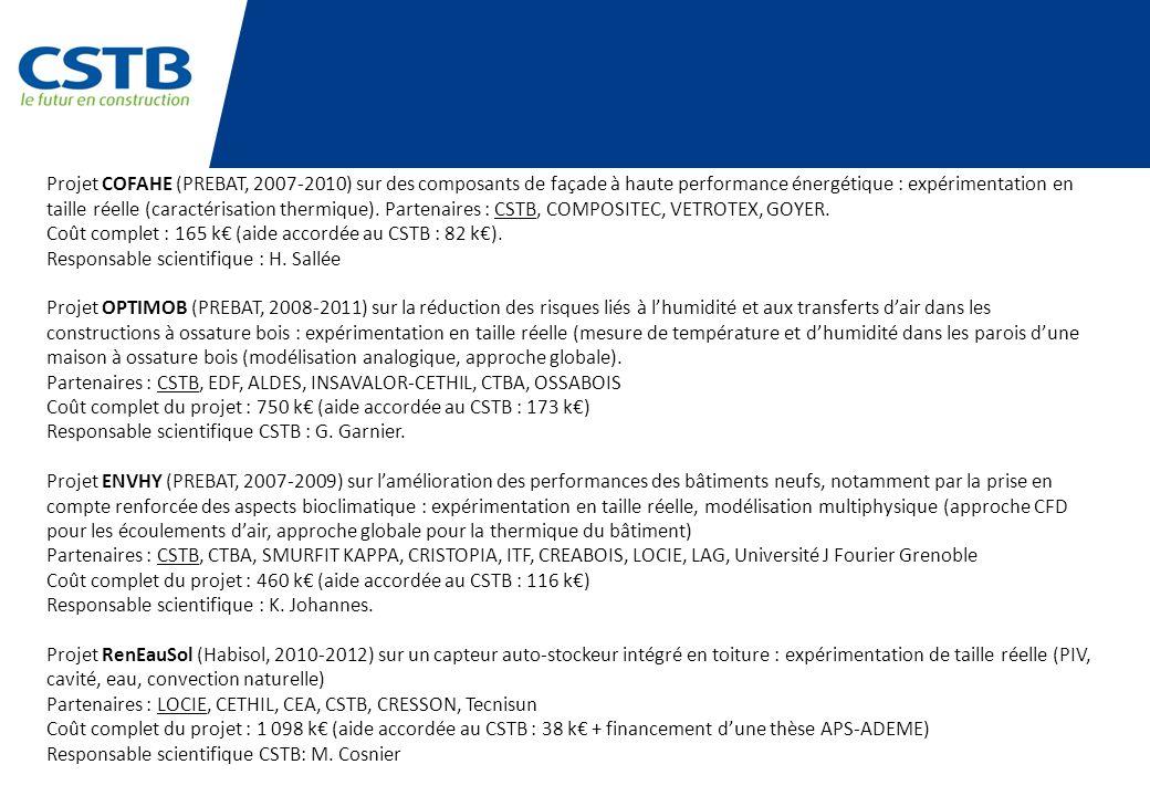 Projet COFAHE (PREBAT, 2007-2010) sur des composants de façade à haute performance énergétique : expérimentation en taille réelle (caractérisation thermique). Partenaires : CSTB, COMPOSITEC, VETROTEX, GOYER.