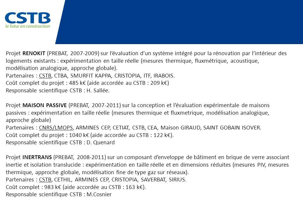 Projet RENOKIT (PREBAT, 2007-2009) sur l'évaluation d'un système intégré pour la rénovation par l'intérieur des logements existants : expérimentation en taille réelle (mesures thermique, fluxmétrique, acoustique, modélisation analogique, approche globale).