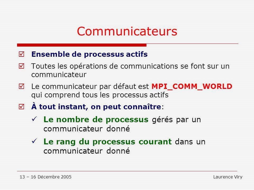 Communicateurs Le nombre de processus gérés par un communicateur donné