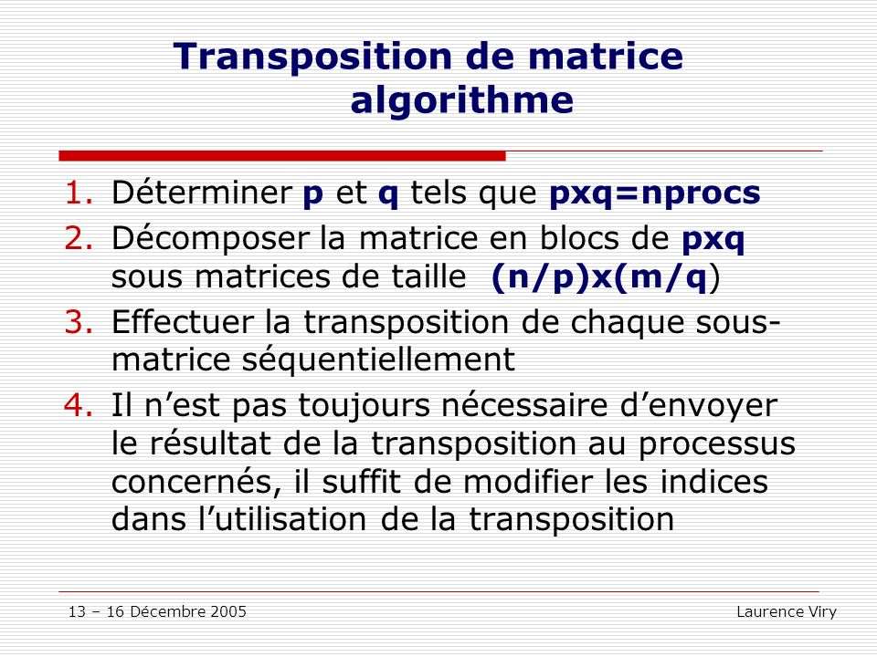 Transposition de matrice algorithme