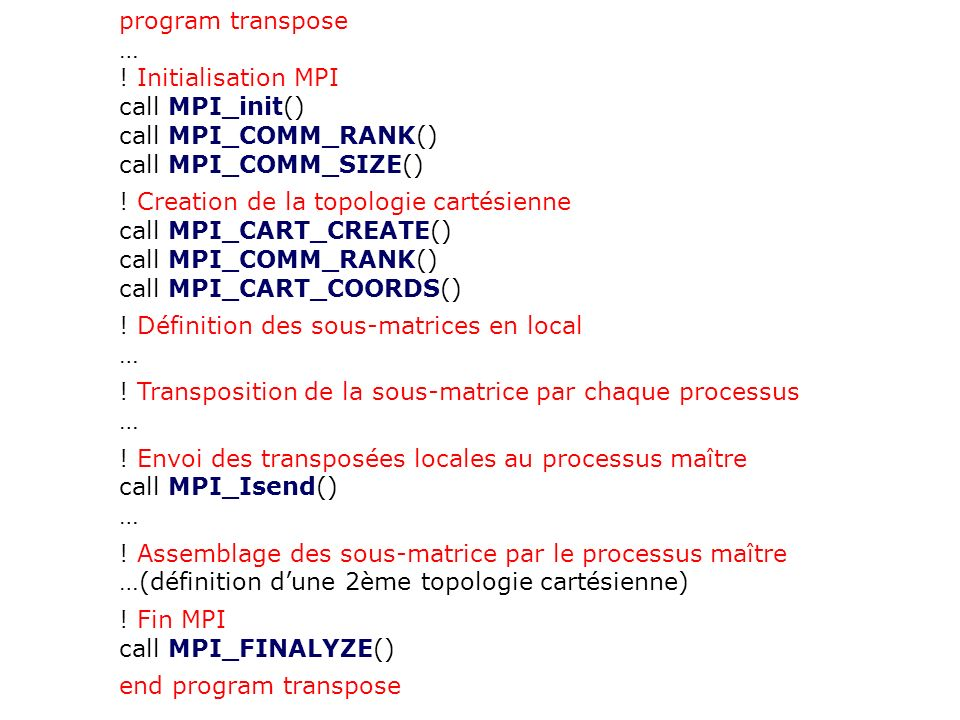 program transpose … ! Initialisation MPI. call MPI_init() call MPI_COMM_RANK() call MPI_COMM_SIZE()