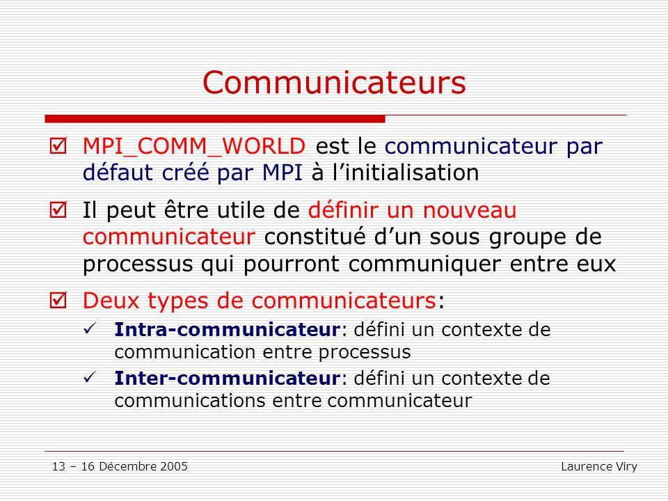 Communicateurs MPI_COMM_WORLD est le communicateur par défaut créé par MPI à l'initialisation.
