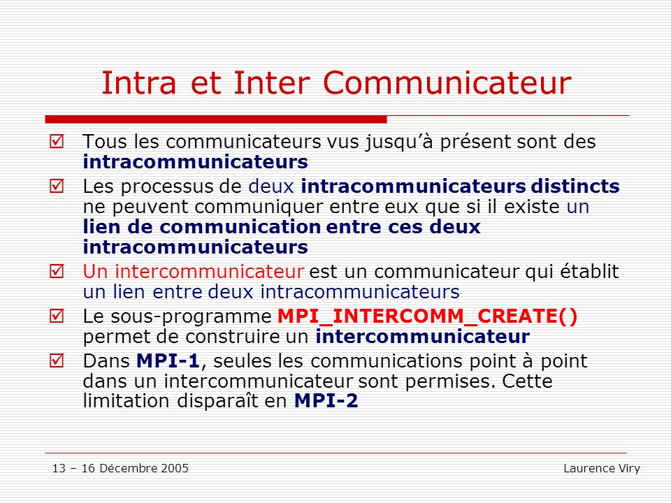 Intra et Inter Communicateur