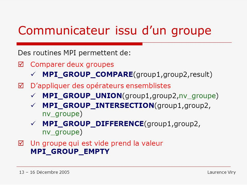 Communicateur issu d'un groupe