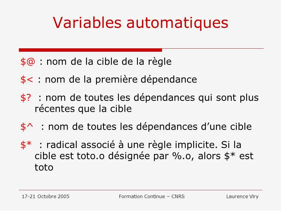 Variables automatiques
