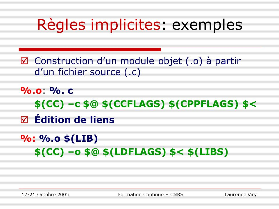 Règles implicites: exemples