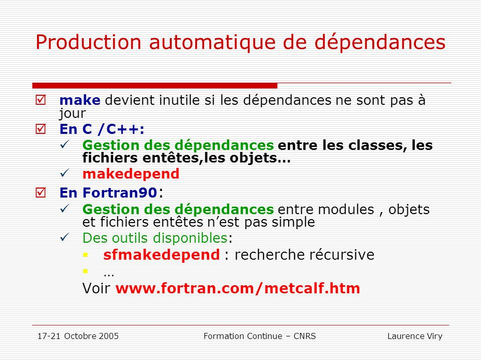 Production automatique de dépendances