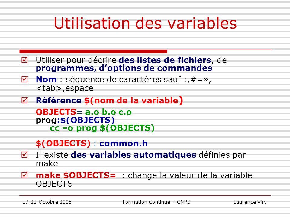 Utilisation des variables