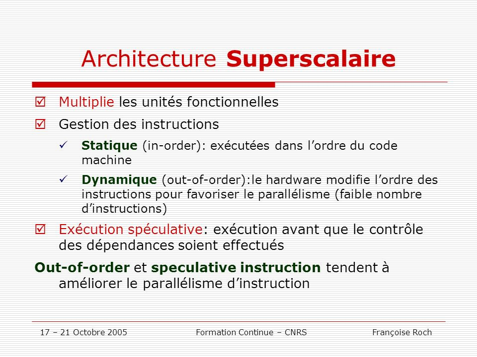 Architecture Superscalaire