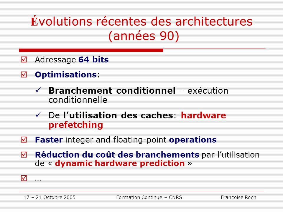 Évolutions récentes des architectures (années 90)