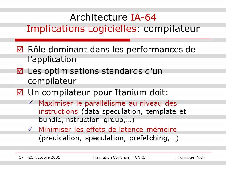 Architecture IA-64 Implications Logicielles: compilateur