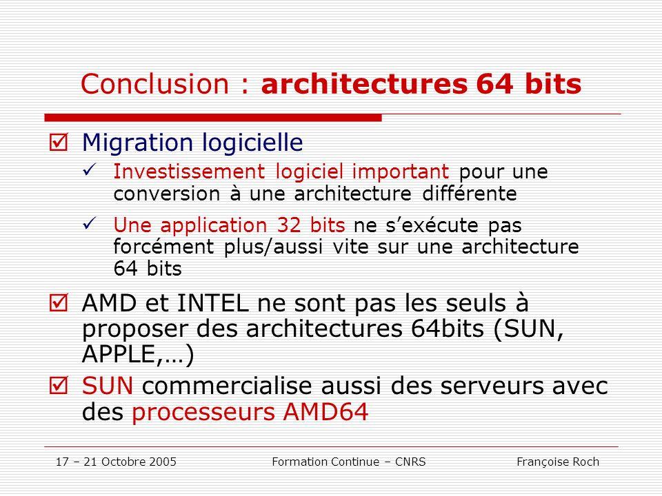 Conclusion : architectures 64 bits