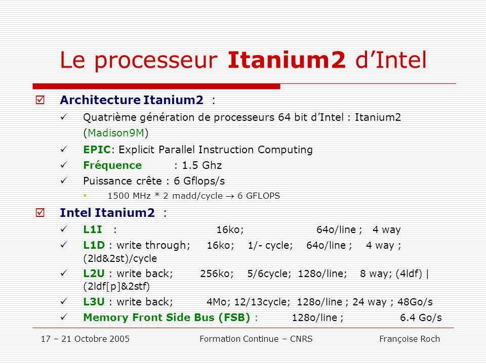 Le processeur Itanium2 d'Intel
