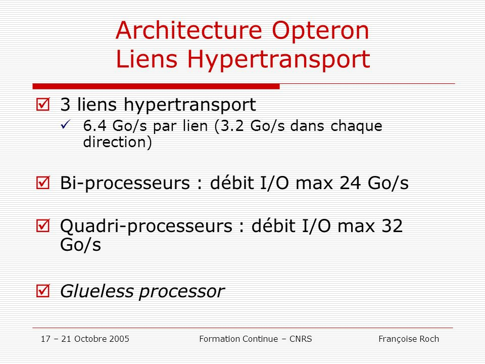 Architecture Opteron Liens Hypertransport