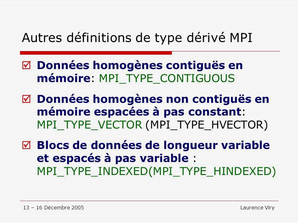 Autres définitions de type dérivé MPI