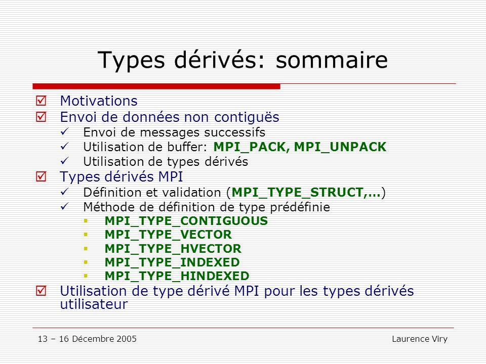 Types dérivés: sommaire