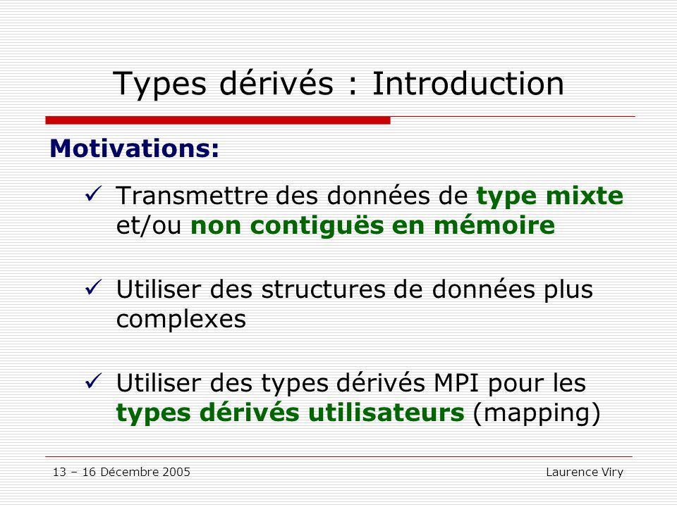 Types dérivés : Introduction