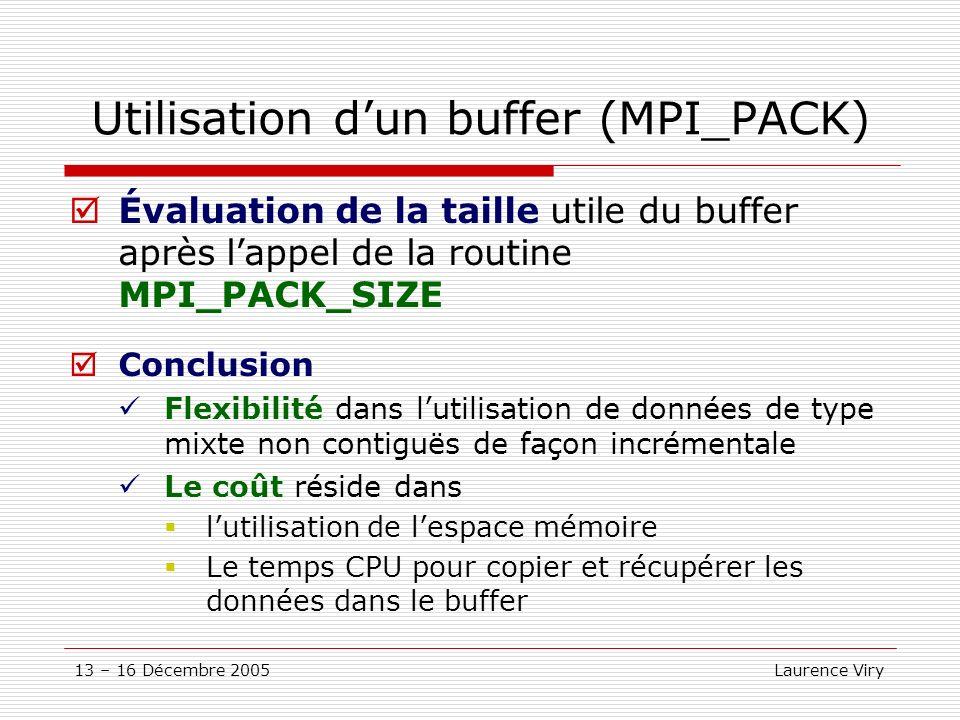 Utilisation d'un buffer (MPI_PACK)