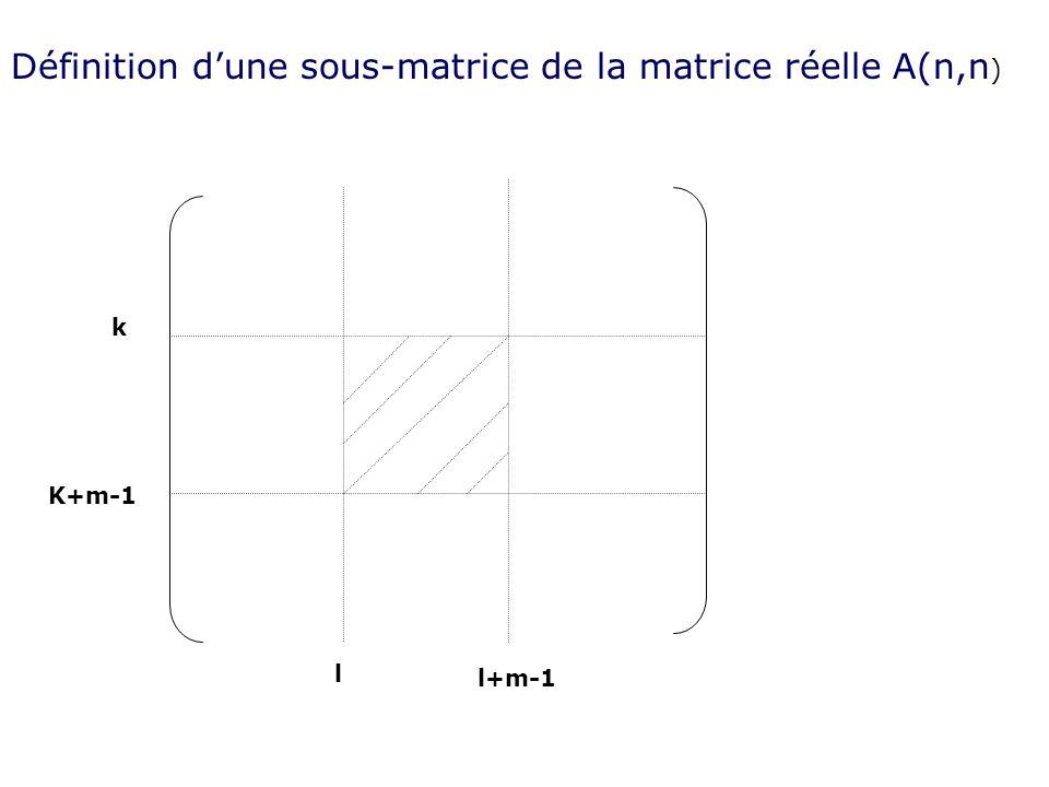 Définition d'une sous-matrice de la matrice réelle A(n,n)