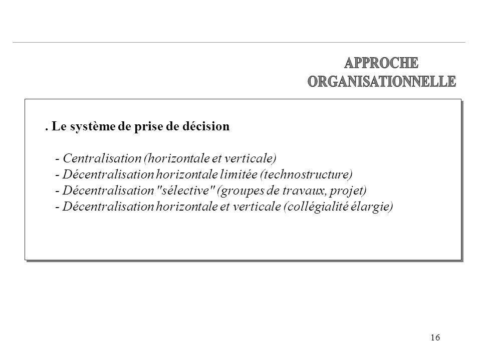 APPROCHE ORGANISATIONNELLE. . Le système de prise de décision. - Centralisation (horizontale et verticale)