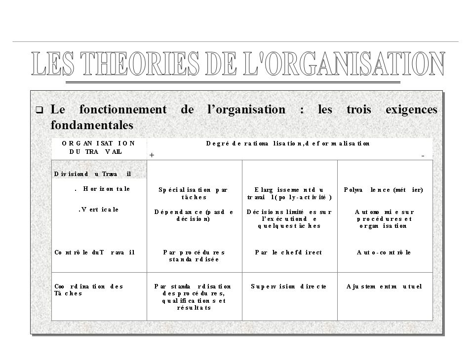 LES THEORIES DE L ORGANISATION