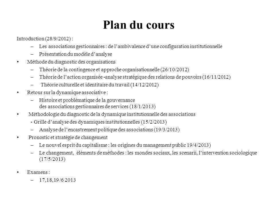 Plan du cours Introduction (28/9/2012) :