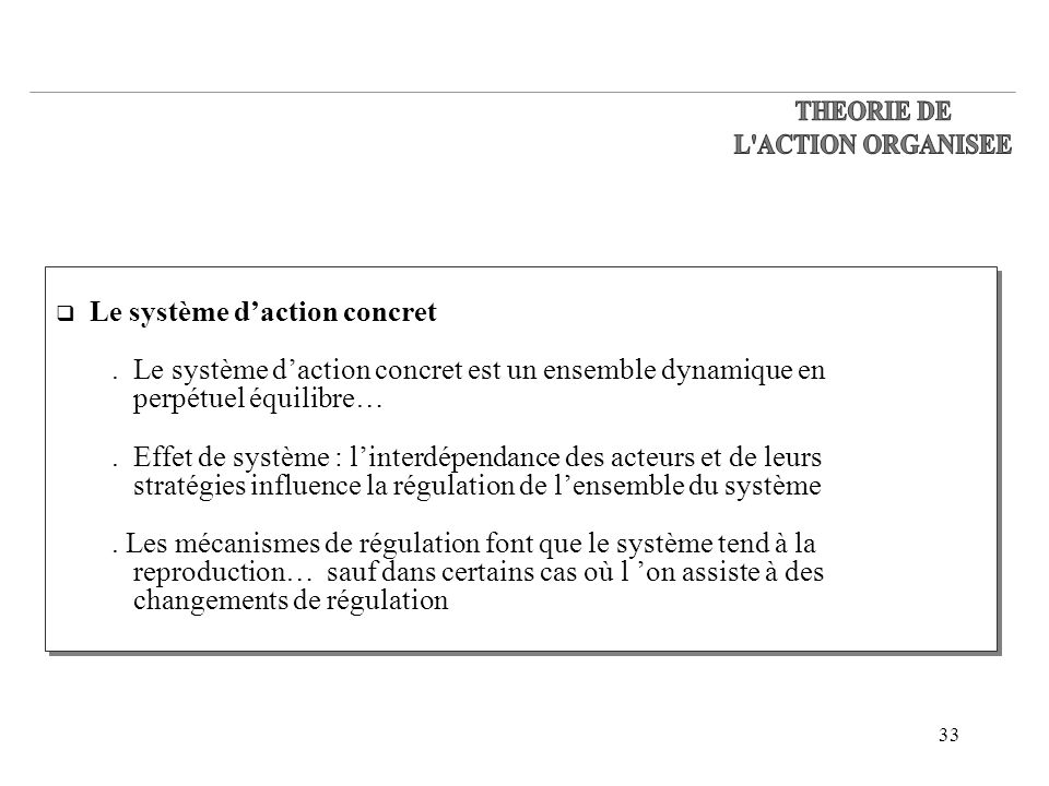 THEORIE DE L ACTION ORGANISEE