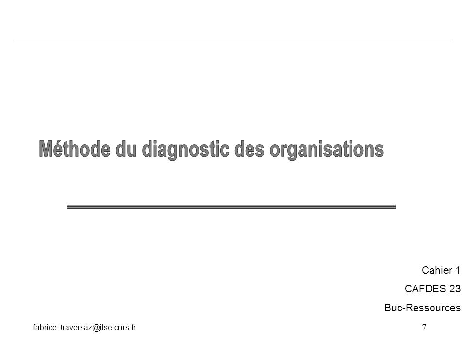 Méthode du diagnostic des organisations