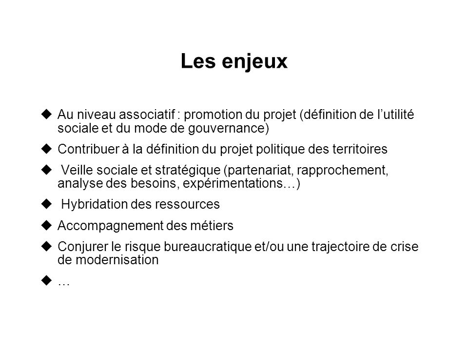 Les enjeux Au niveau associatif : promotion du projet (définition de l'utilité sociale et du mode de gouvernance)