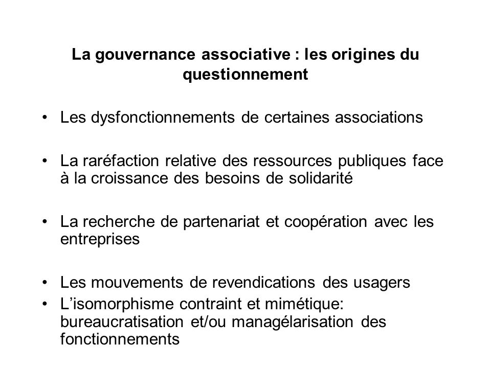 La gouvernance associative : les origines du questionnement