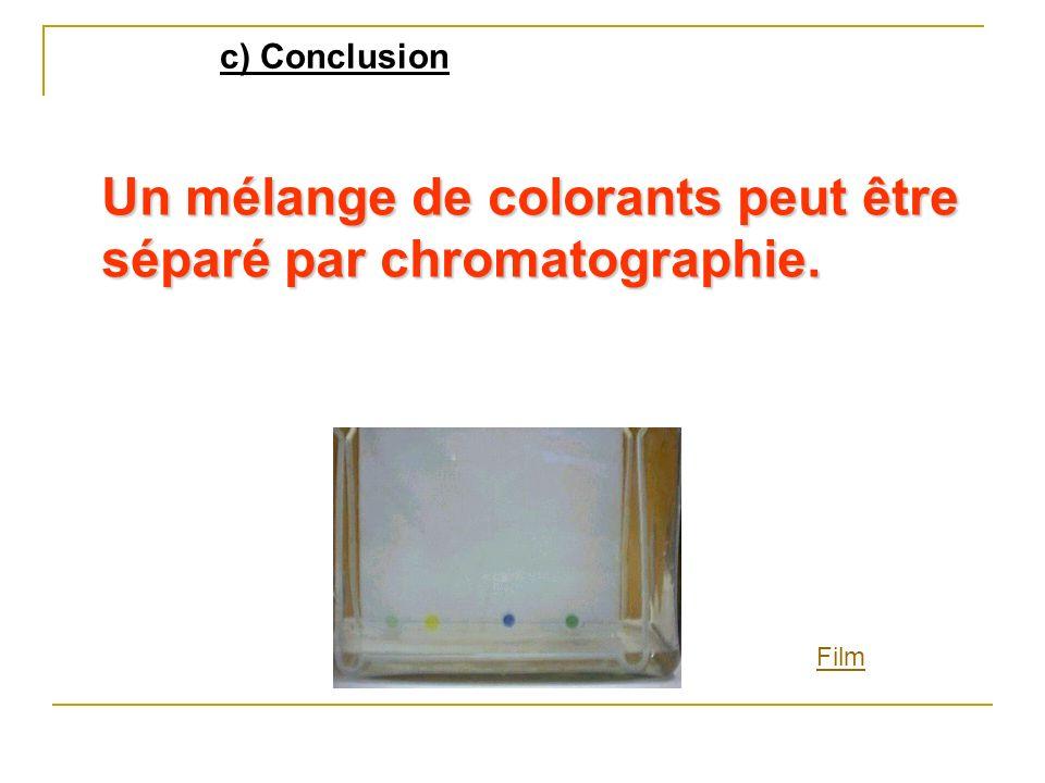 Un mélange de colorants peut être séparé par chromatographie.