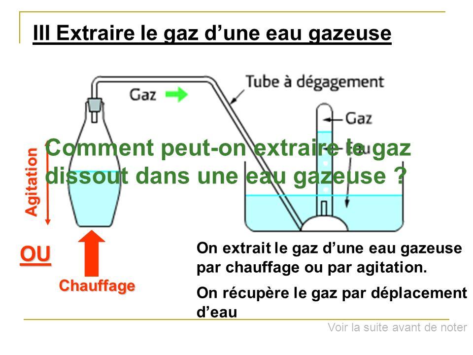 Comment peut-on extraire le gaz dissout dans une eau gazeuse