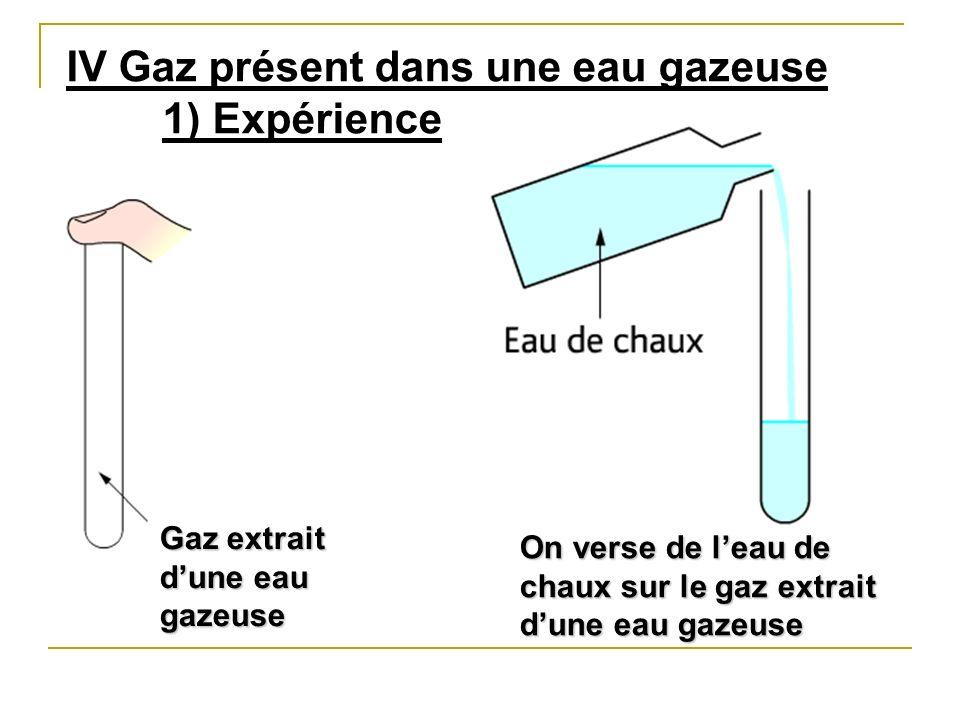 IV Gaz présent dans une eau gazeuse 1) Expérience