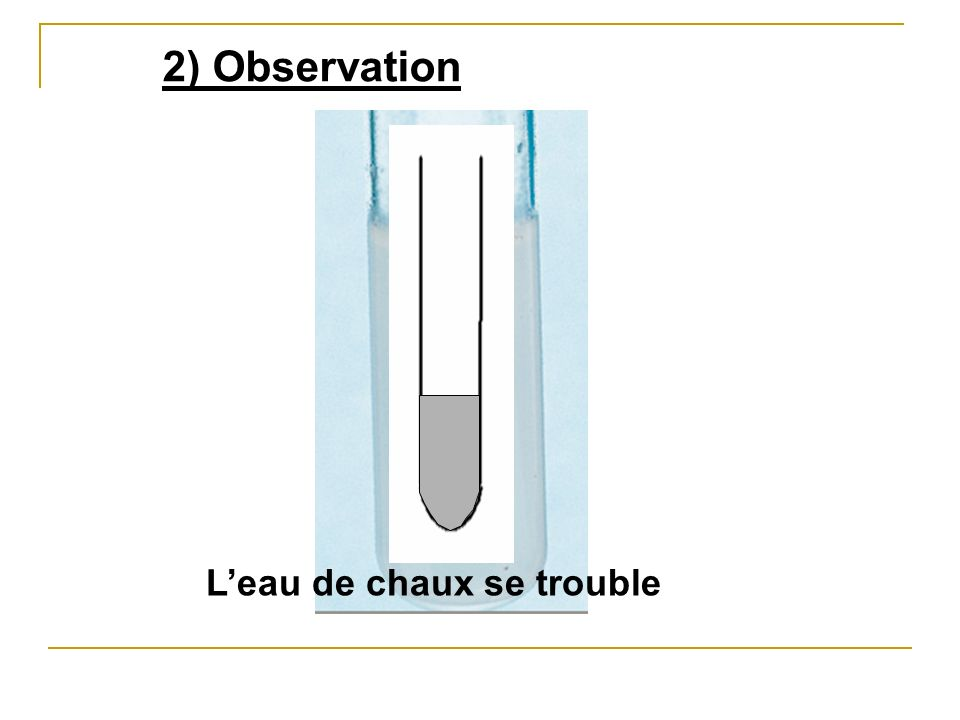 2) Observation L'eau de chaux se trouble