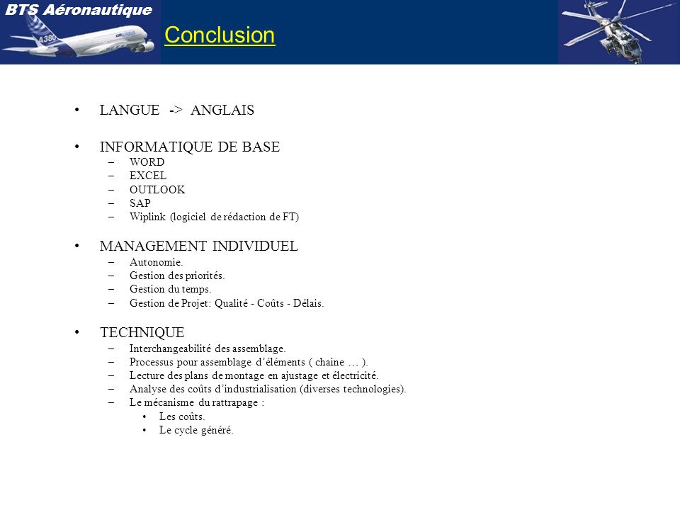 Conclusion LANGUE -> ANGLAIS INFORMATIQUE DE BASE