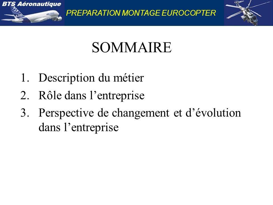 SOMMAIRE Description du métier Rôle dans l'entreprise