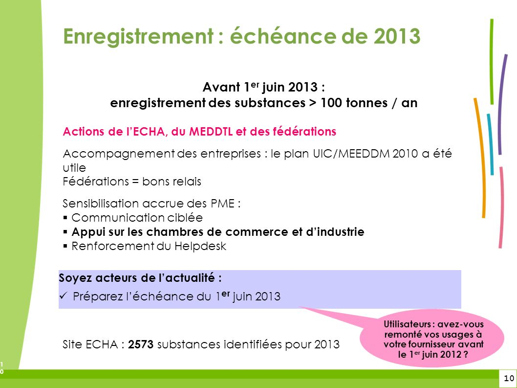 enregistrement des substances > 100 tonnes / an