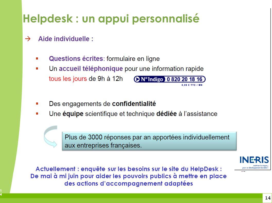 Actuellement : enquête sur les besoins sur le site du HelpDesk :